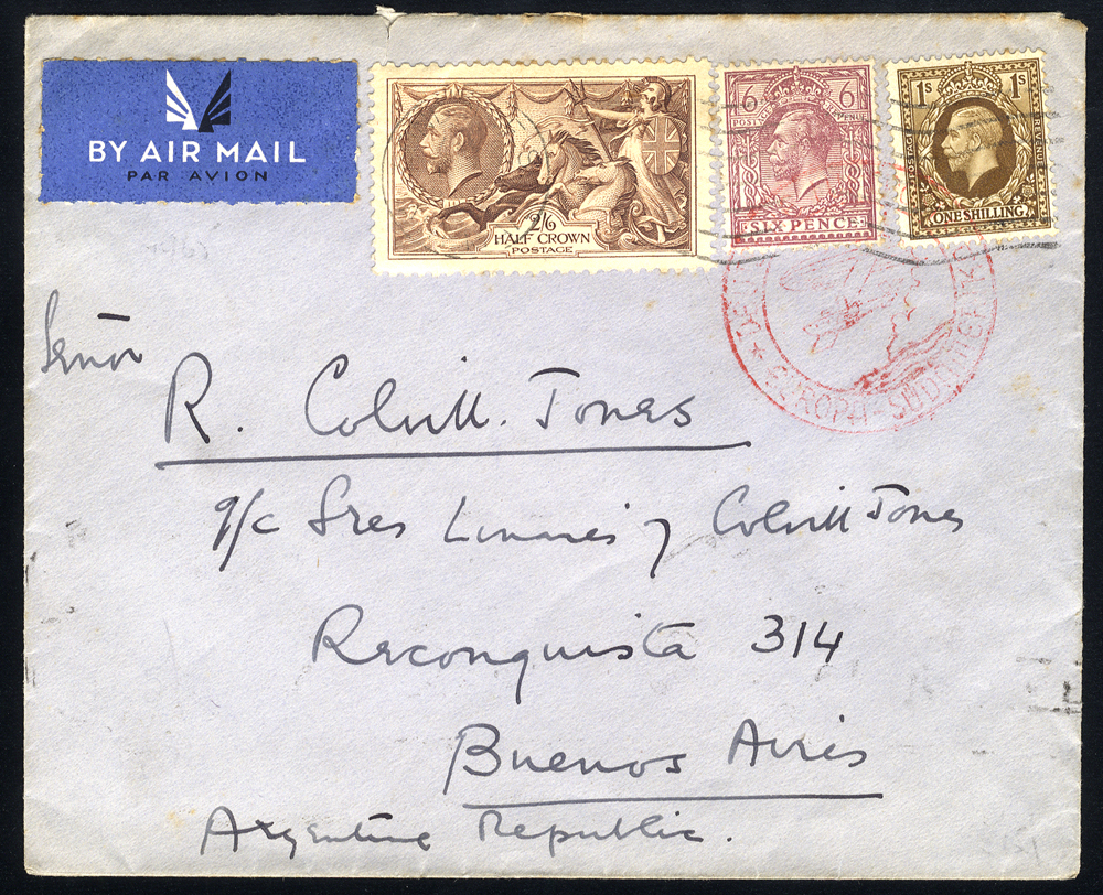 1937 airmail cover to Buenos Aires, franked 6d, 1s & 2/6d Seahorse