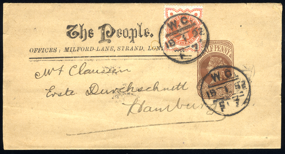 1892 ½d brown Newspaper wrapper uprated with ½d Jubilee to Hamburg