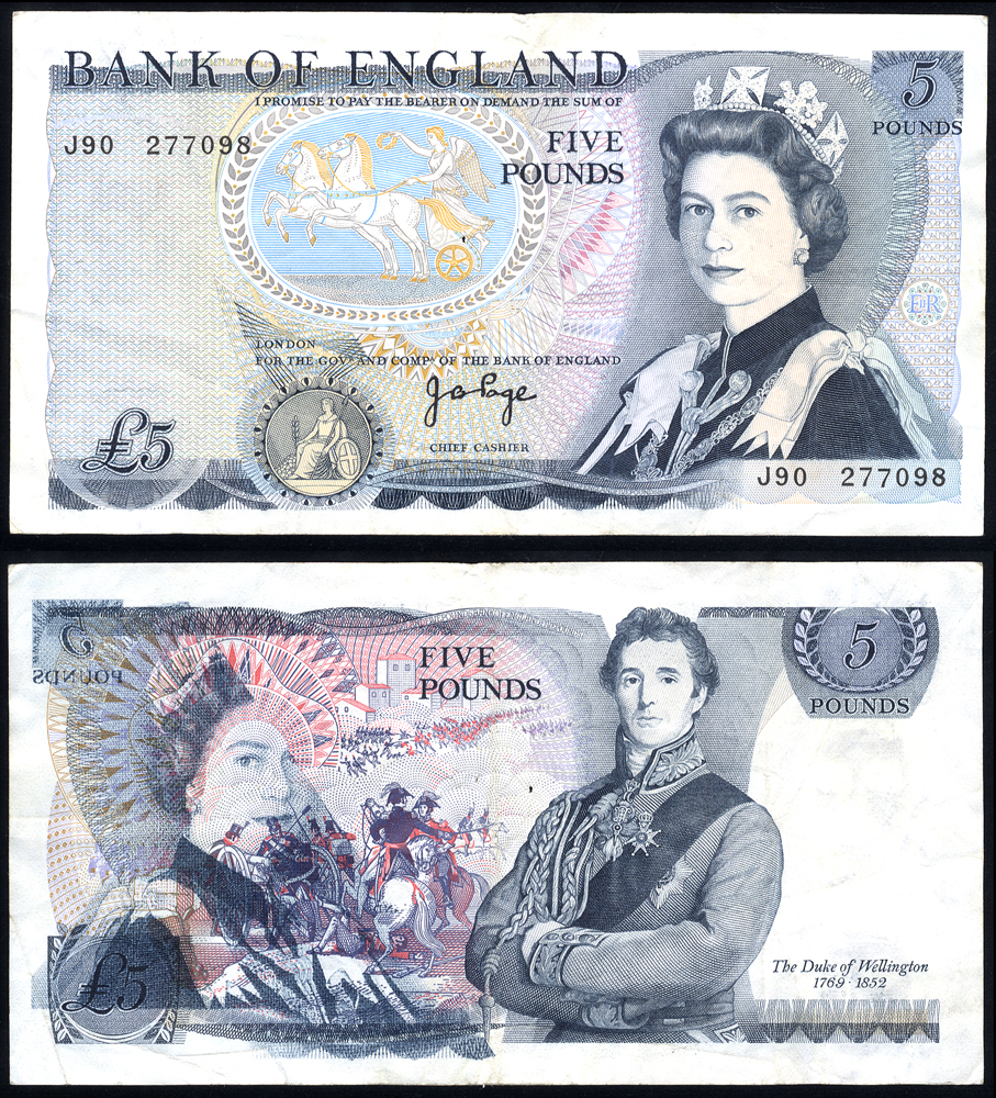 1971 Page £5 Wellington - printing error (Queen shown on both sides)