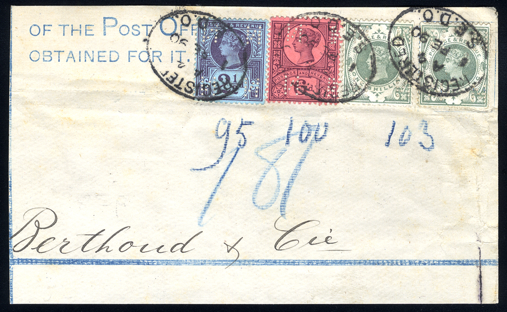 1890 piece from a registered envelope, franked 2½d & 6d Jubilees (PERFINS)