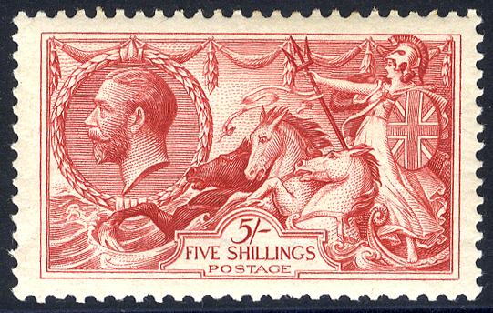 1918 Bradbury 5s rose-red - fine MINT