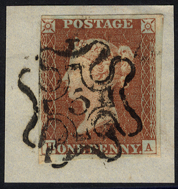 1841 1d red-brown, tied to piece by a No. 5 in MALTESE CROSS