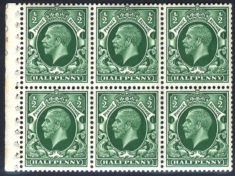 1934 Photogravure ½d green, Small Format watermark upright booklet pane of six UM