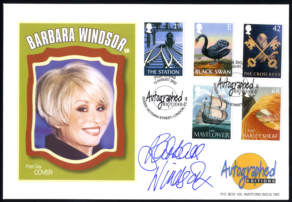 WINDSOR, BARBARA (English Actress) signature on first day cover