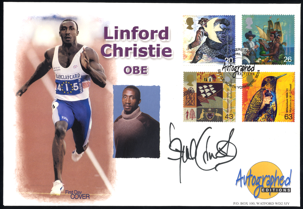 CHRISTIE, LINFORD (British Athlete) signature on first day cover