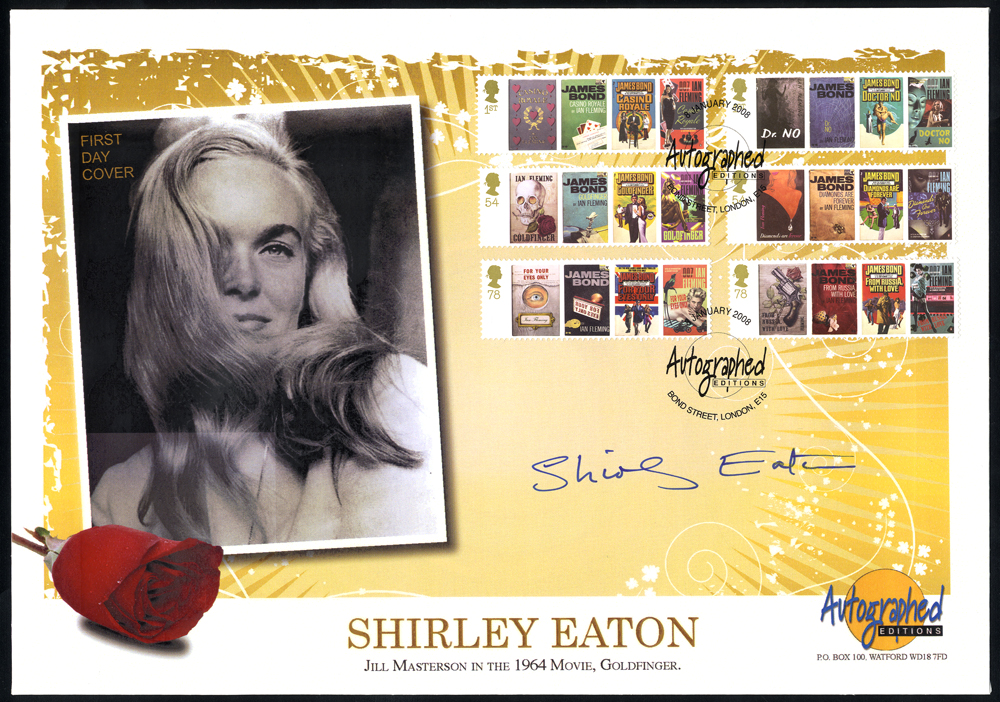 EATON, SHIRLEY (English Actress) signature on JAMES BOND 2008 first day cover