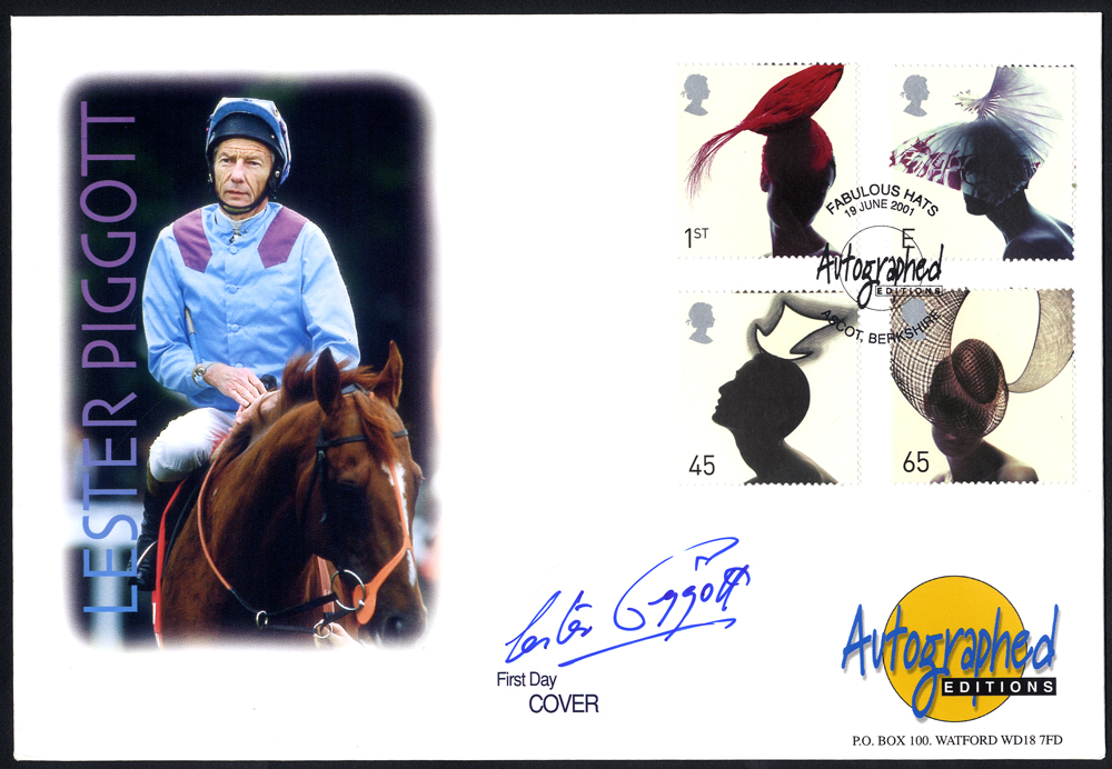 PIGGOTT, LESTER (Champion Jockey with 4493 Winners) signature on first day cover.