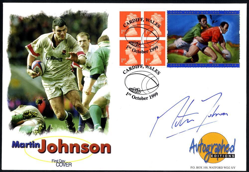 JOHNSON, MARTIN (English Rugby Union Player - Captained England) signature on first day cover.