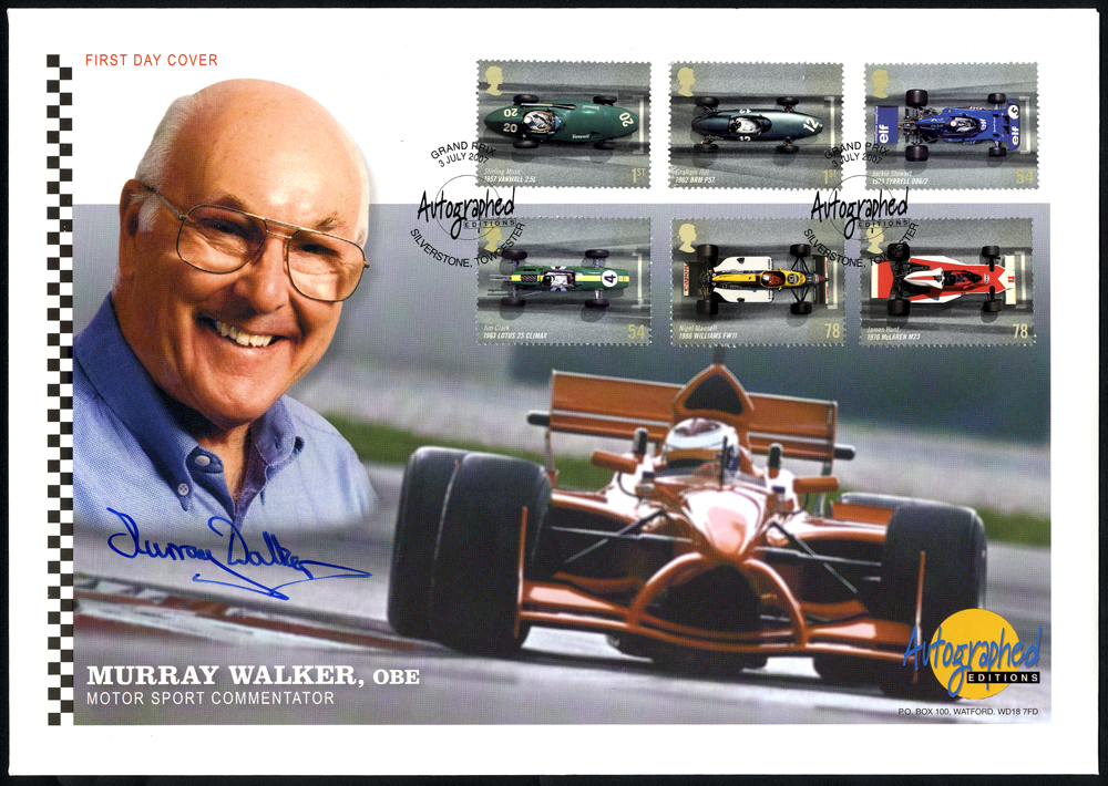 WALKER, MURRAY (Motor Sport Commentator) signature on first day cover