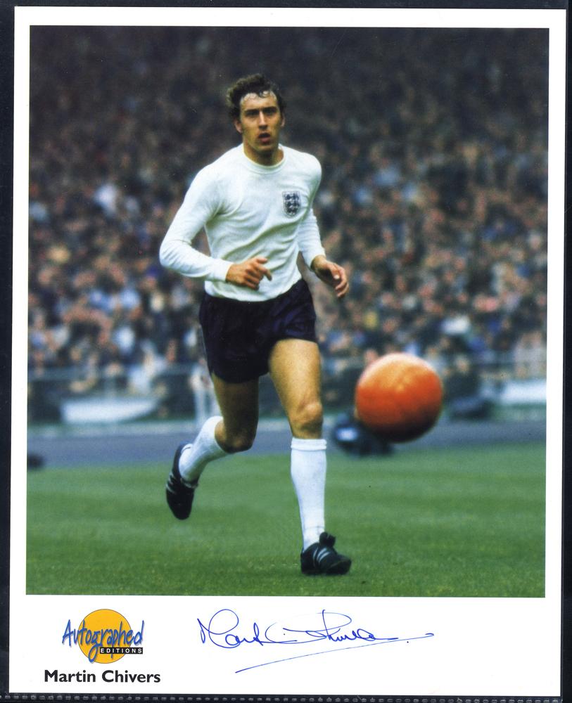 FOOTBALL - CENTRE FORWARDS Geoff Hurst, Malcolm MacDonald & Martin Chivers - three signed photographs