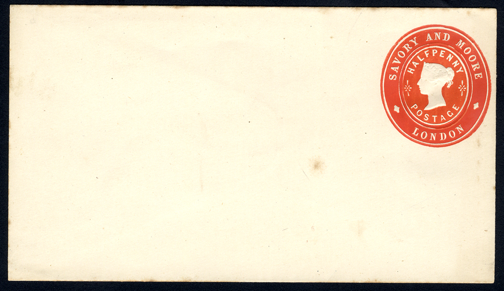 Advertising Rings - QV ½d vermilion Savory & Moore, London envelope unused