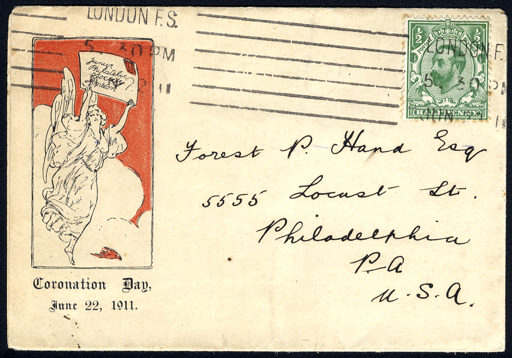 1911 Junior Philatelic Society pictorial envelope addressed to the USA - ½d KGV Downey