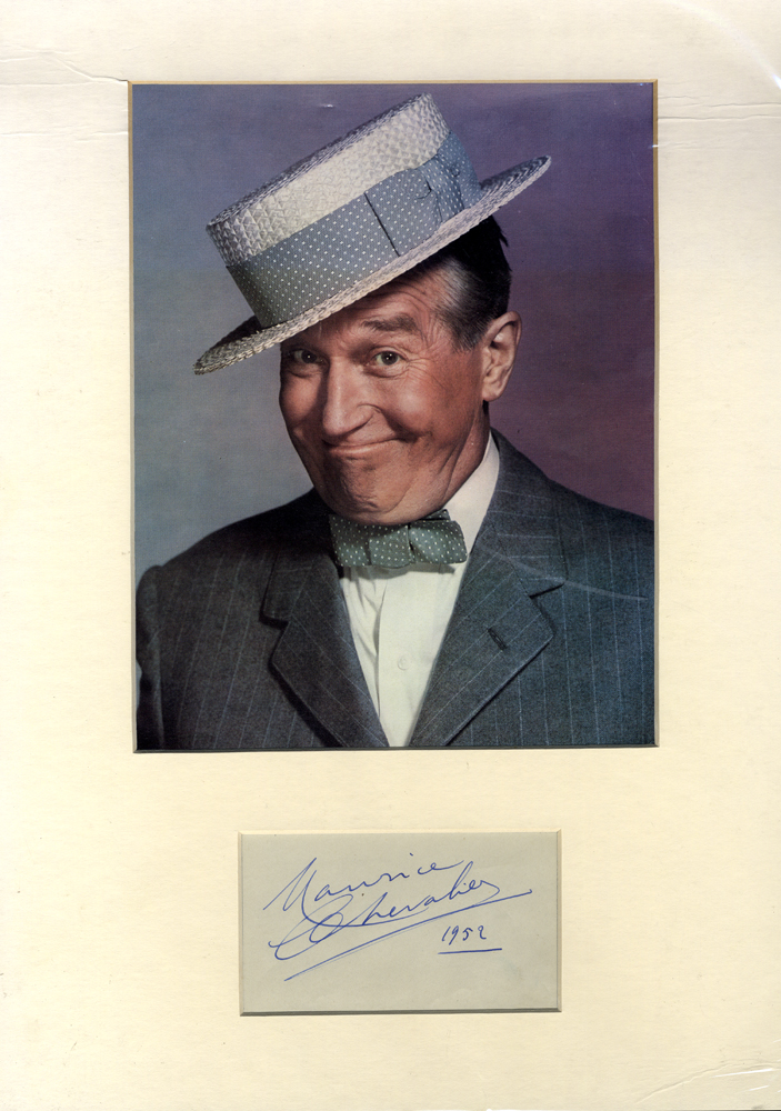 CHEVALIER, MAURICE 1888-1972 (French Actor) signed album page with colour photograph
