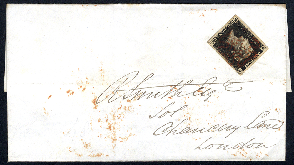 1840 Nov cover from Rochdale to London franked Pl.6 MG