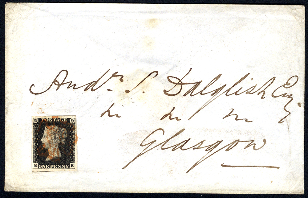 1841 Jan 26th envelope to Glasgow, franked Pl.6 ME