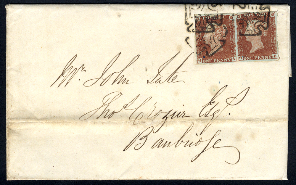 1843 entire letter from Dublin to Banbridge, franked 1d red-brown Pl.36 pair QA/QB