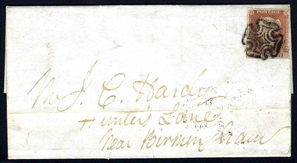 1842 entire letter from Perth to Birmingham, franked penny red Pl.18 HC