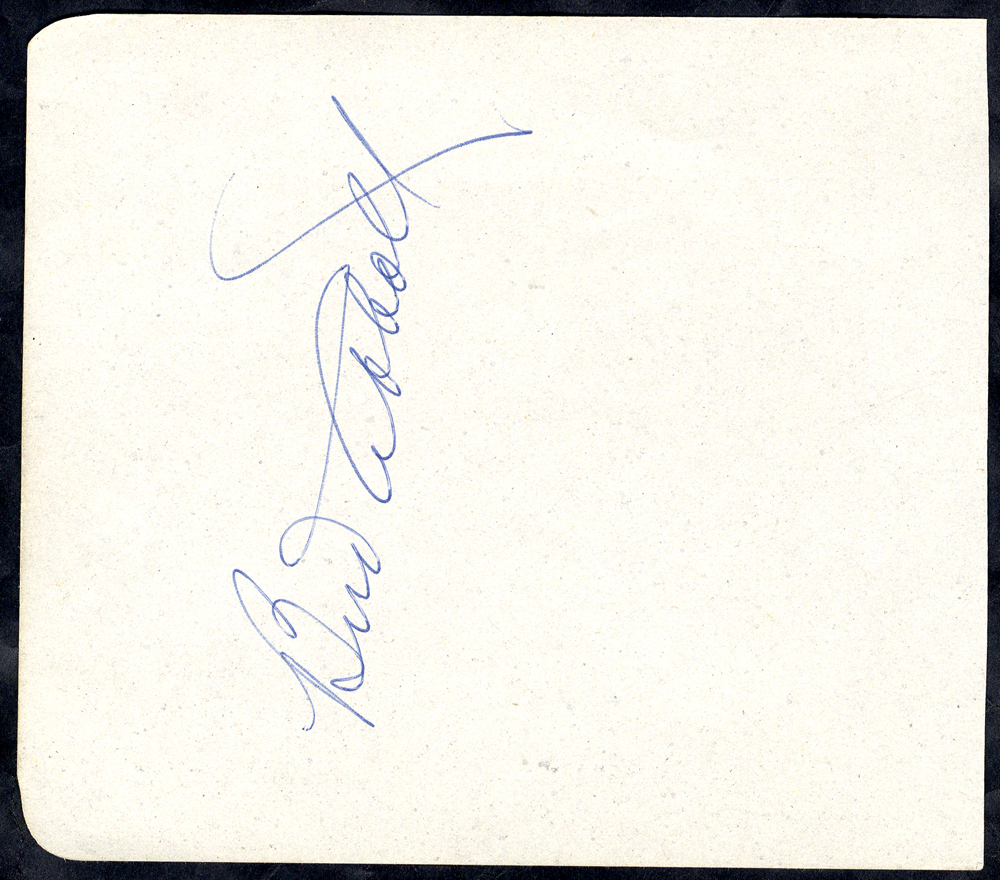 ABBOTT, BUD 1897-1974 (American Actor) signature on a page removed from an autograph album