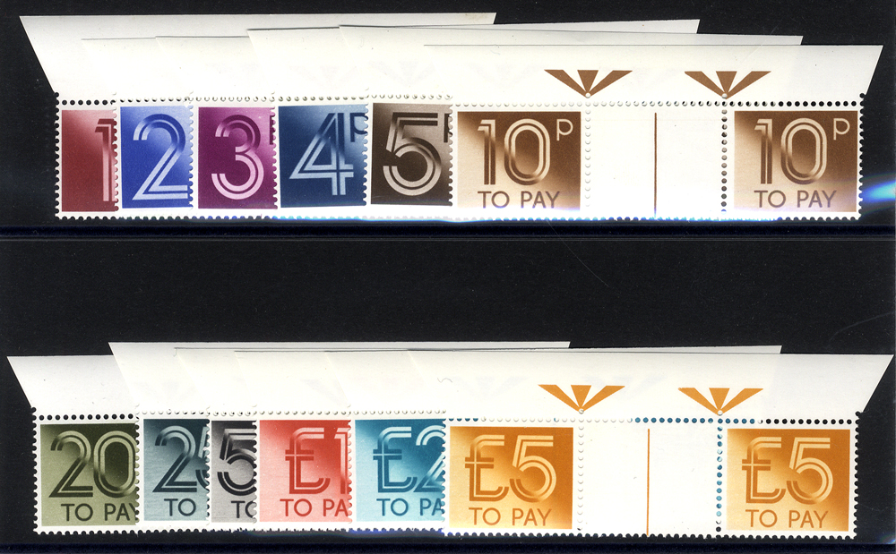 1982 set of twelve in top marginal gutter pairs