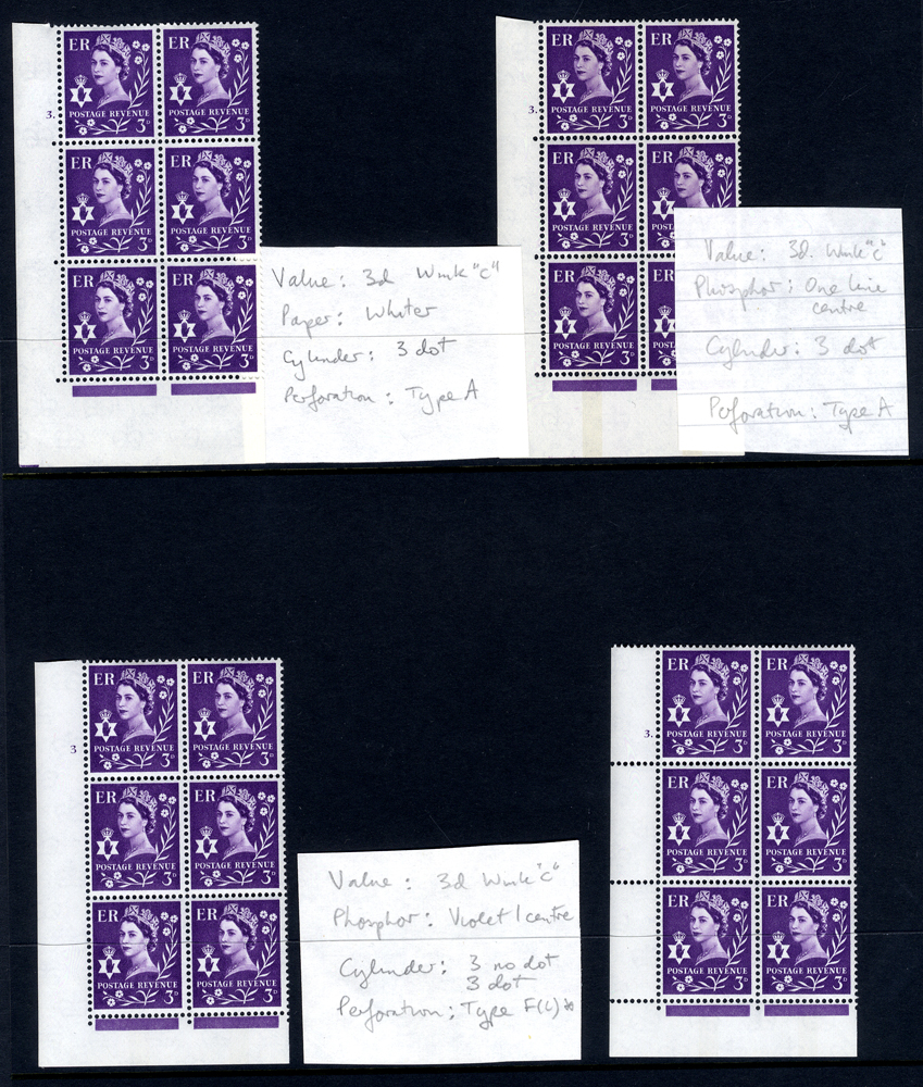 NORTHERN IRELAND £sd Cylinder blocks six UM (20 different)