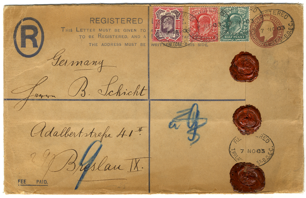 1903 registered envelope to Germany uprated ½d, 1d & 10d