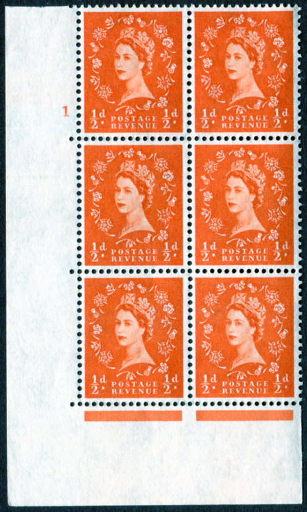 1958 Wilding ½d Crowns, cream paper, Cyl. 1 - block of six
