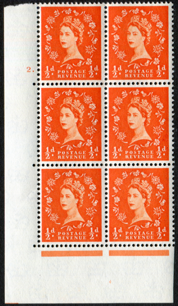 1958 Wilding ½d Crowns, cream paper, Cyl. 2 dot - block of six