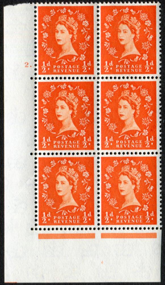 1958 Wilding ½d Crowns, cream paper, Cyl. 2 dot - block of six
