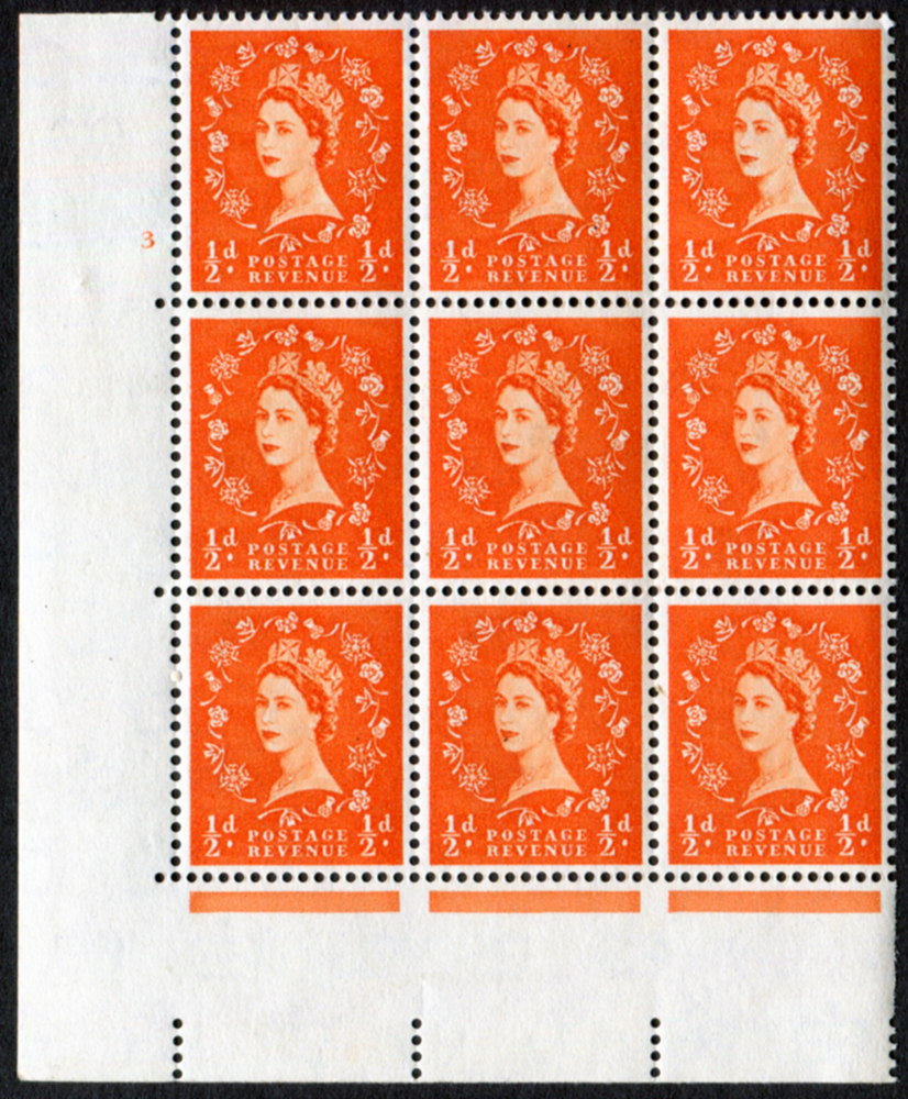 1958 Wilding ½d Crowns, cream paper, Cyl. 3 - block of six