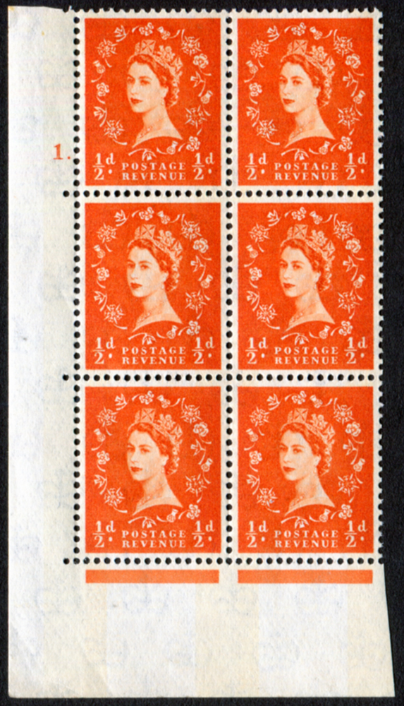 1958 Wilding ½d Crowns, blue phosphor, Cyl. 1 dot - block of six