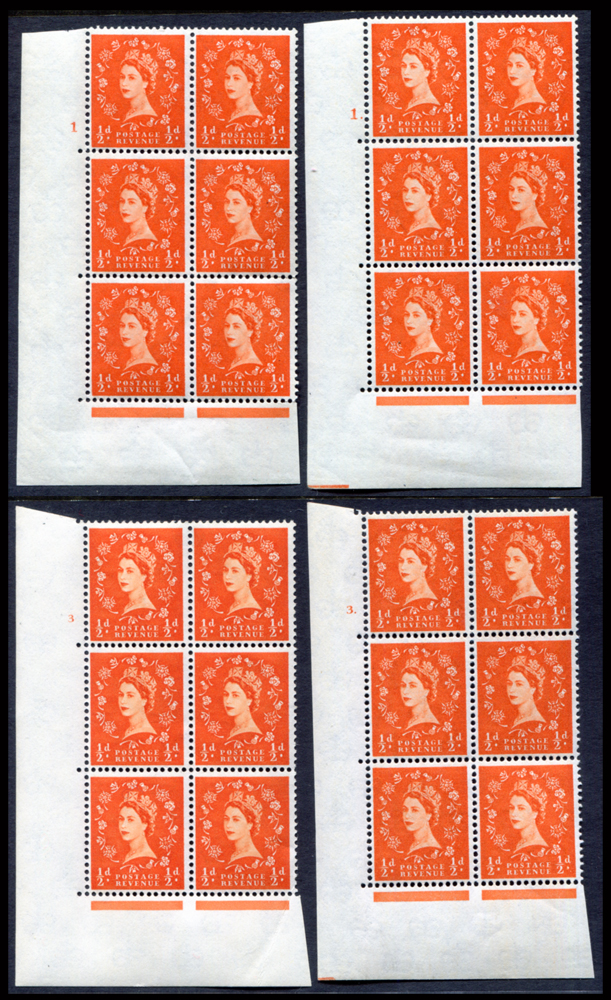 1958 Wilding ½d Crowns, white paper, Perf Type A, blocks of six (4)