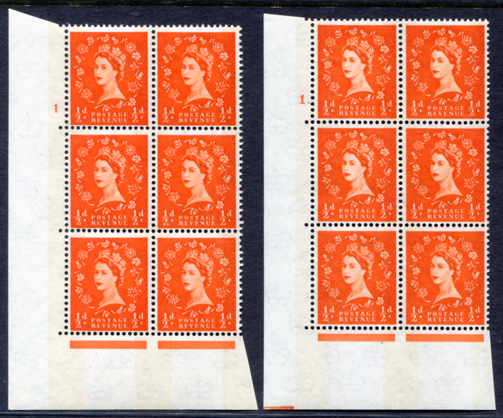 1961 Wilding ½d Crowns, blue phosphor, white paper, Perf Type A, blocks of six (2)