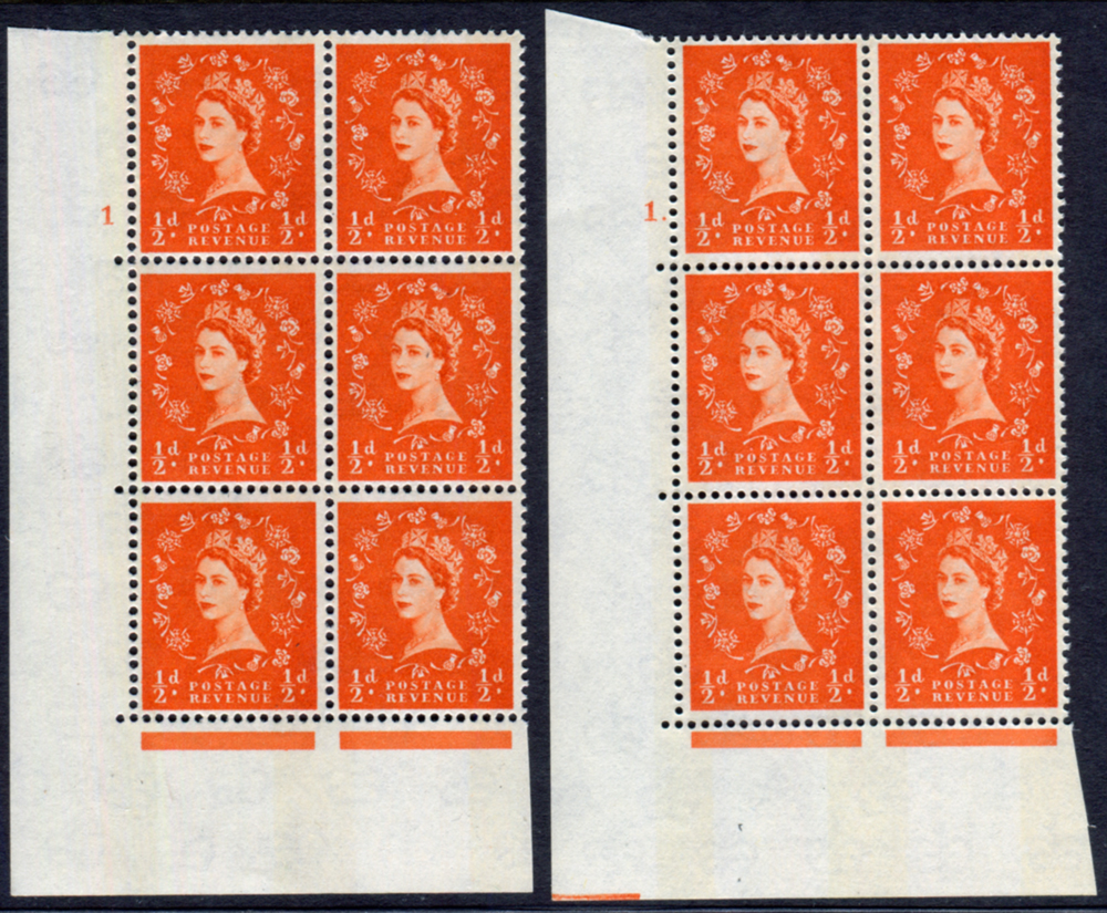 1965 Wilding ½d Crowns, violet phosphor, white paper, Perf Type A, blocks of six (2)