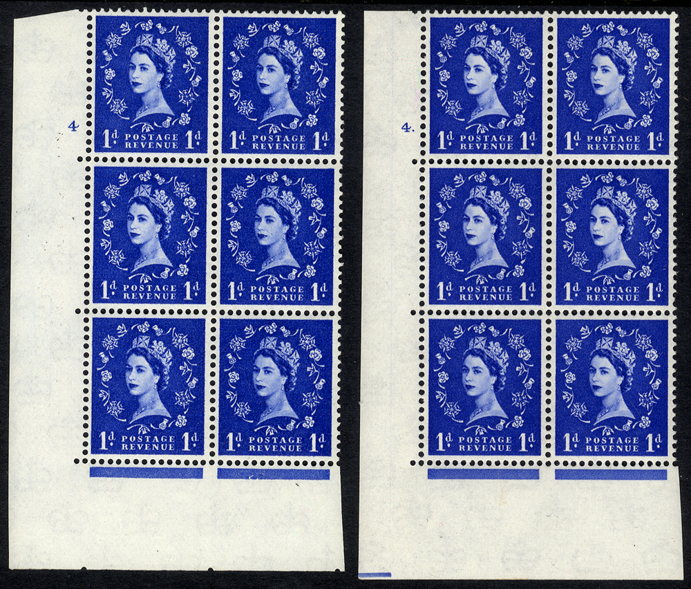 1959 Wilding 1d Crowns, white paper, Perf Type A - blocks of six (2)