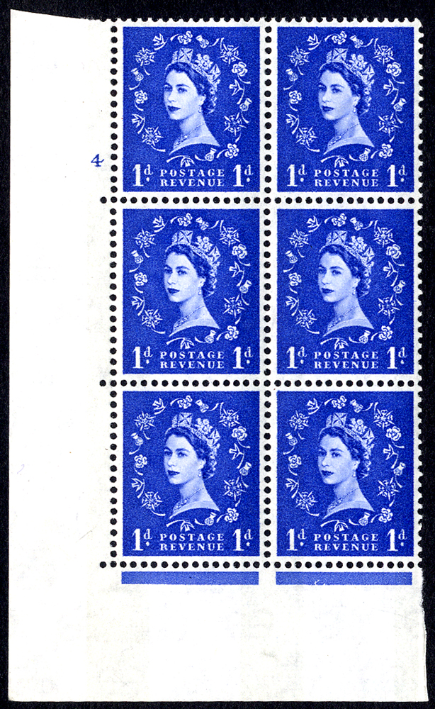 1960 Wilding 1d Crowns, blue phosphor, Perf Type A, Cyl. 4 - block of six
