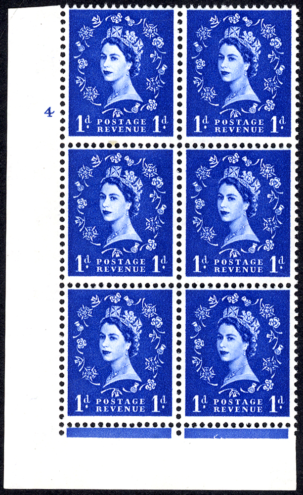 1965 Wilding 1d Crowns, violet phosphor, white paper, Perf F(L), Cyl. 4 - block of six