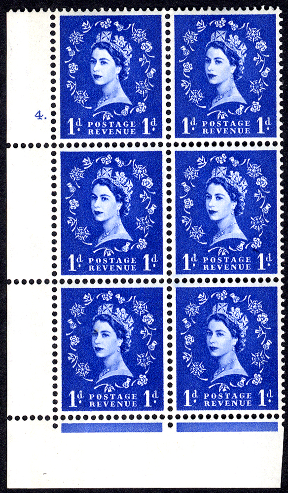 1965 Wilding 1d Crowns, violet phosphor, white paper, Perf F(L), Cyl. 4 dot - block of six