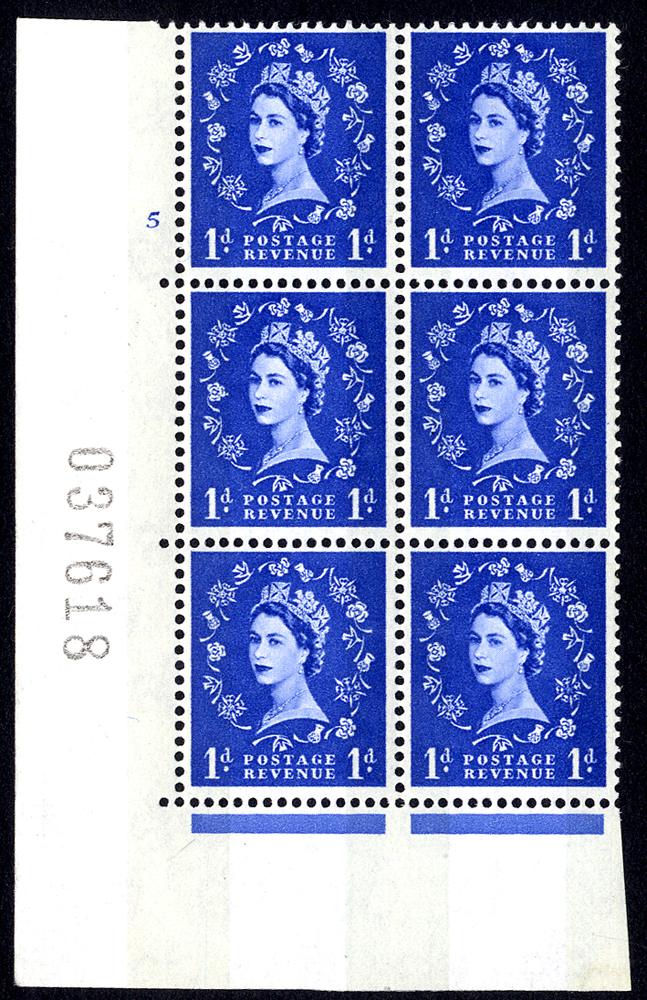 1967 Wilding 1d Crowns, violet phosphor, white paper, Perf Type A, Cyl. 5 - block of six