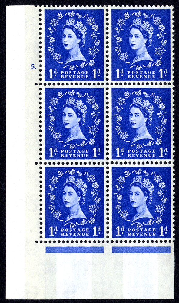 1967 Wilding 1d Crowns, violet phosphor, white paper, Perf Type A, Cyl. 5 dot - block of six