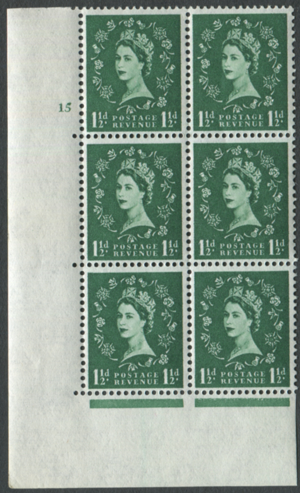 1960 Wilding 1½d Crowns, white paper, Perf Type A, Cyl. 15 - block of six
