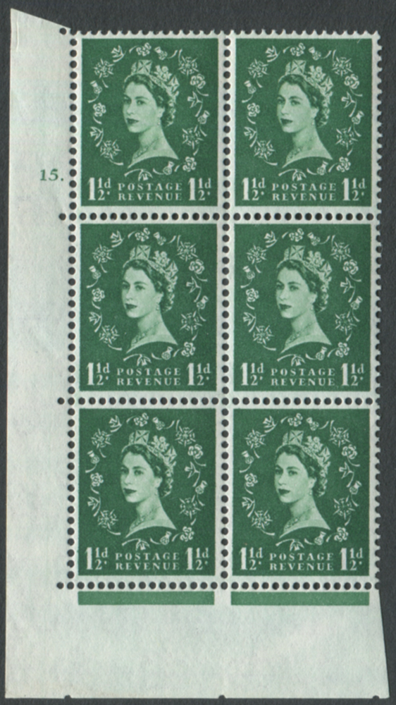 1960 Wilding 1½d Crowns, white paper, Perf Type A, Cyl. 15 dot - block of six