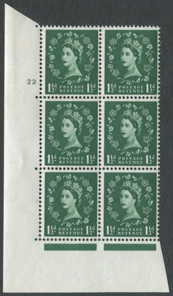 1961 Wilding 1½d Crowns, white paper, Perf Type A, Cyl. 22 - block of six