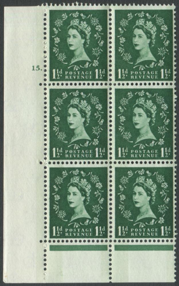 1961 Wilding 1½d Crowns, blue phosphor, Perf Type B/C, Cyl. 15 dot - block of six