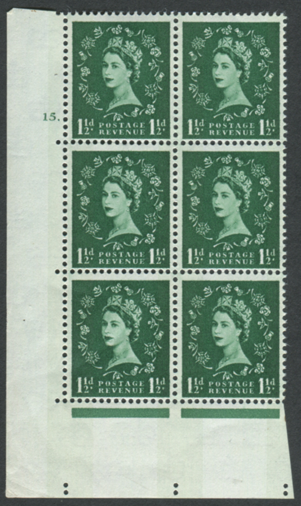 1960 Wilding 1½d Crowns, blue phosphor, white paper, Perf Type A, Cyl. 15 dot - block of six
