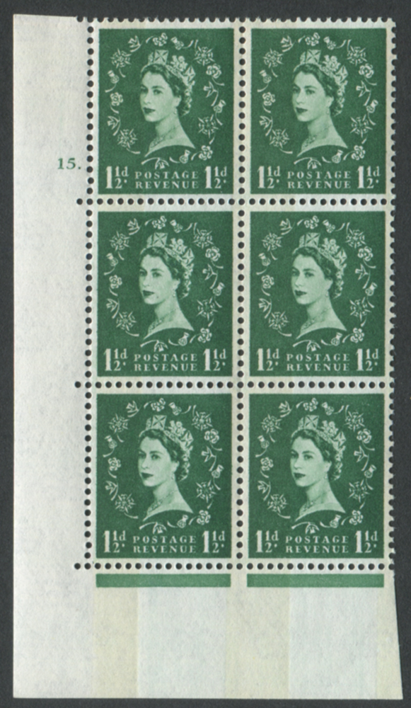 1965 Wilding 1½d Crowns, Mult Crown, violet phosphor, white paper, Perf Type A, Cyl. 15 dot dot - block of six