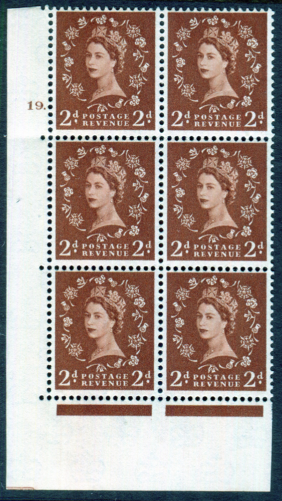 1958 Wilding 2d Crowns, cream paper, Perf Type A, Cyl. 19 dot - block of six