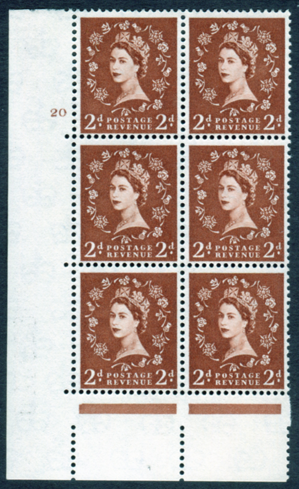 1958 Wilding 2d Crowns, cream paper, Perf Type A, Cyl. 20 - block of six