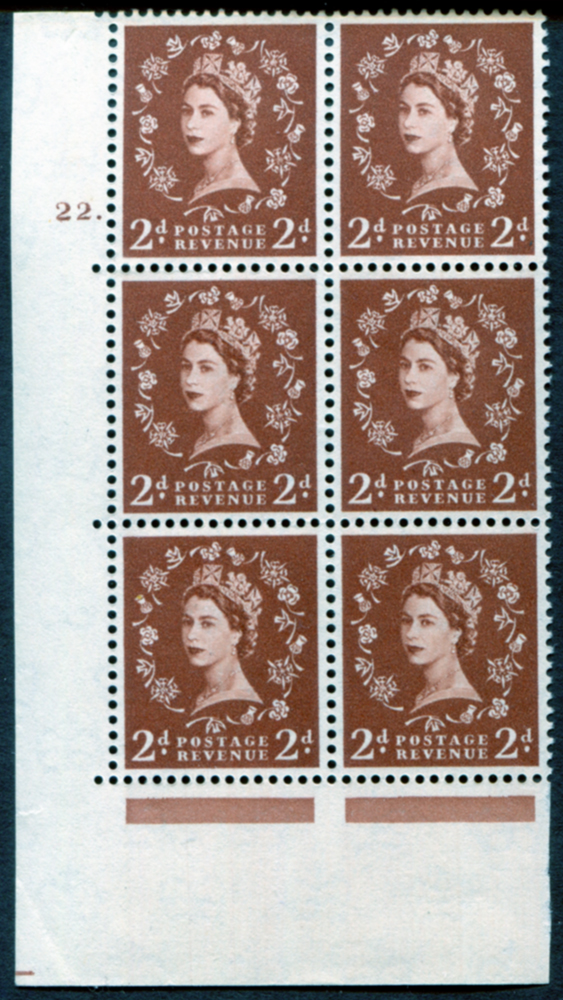 1958 Wilding 2d Crowns, Perf Type A, Cyl. 22 dot - block of six