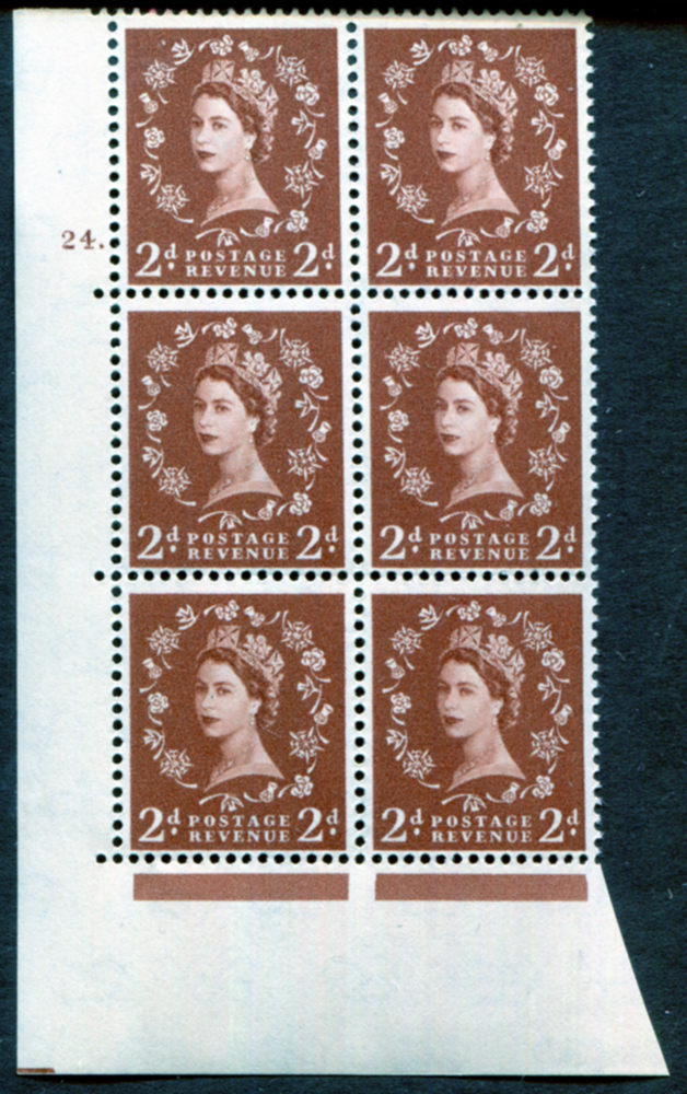 1958 Wilding 2d Crowns, Perf Type A, Cyl. 24 dot - block of six