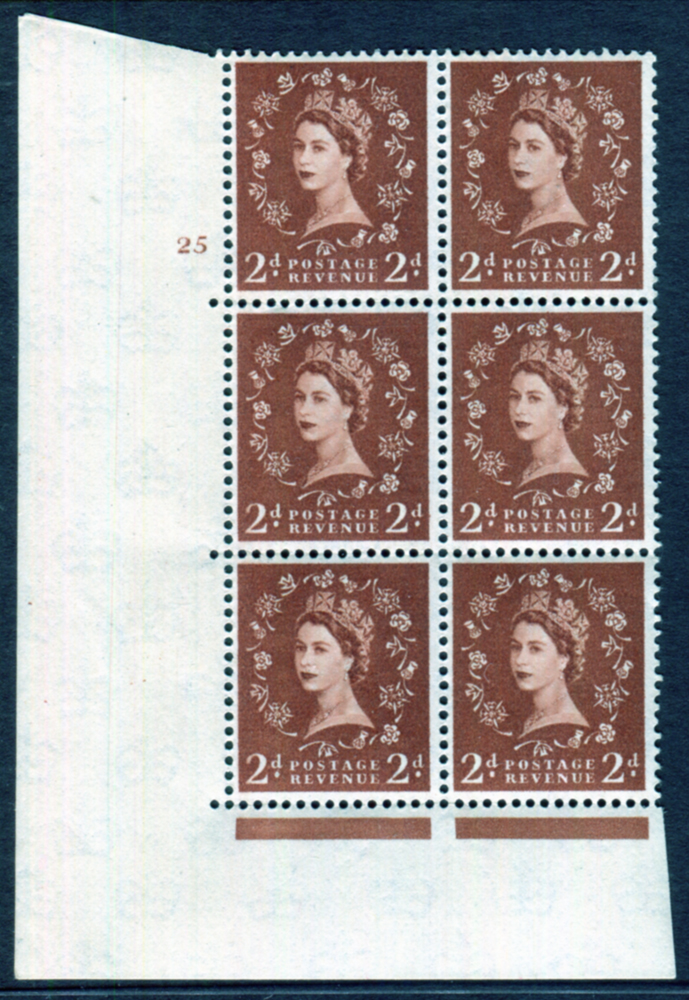1958 Wilding 2d Crowns, cream paper, Perf Type A, Cyl. 25 - block of six